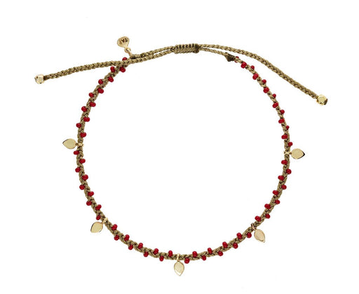 Red Glass Bead and Gold Leaf Bracelet - TWISTonline
