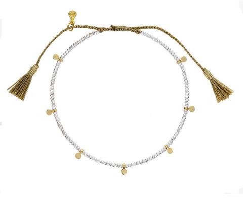 Silver Bead and Gold Disc Bracelet - TWISTonline