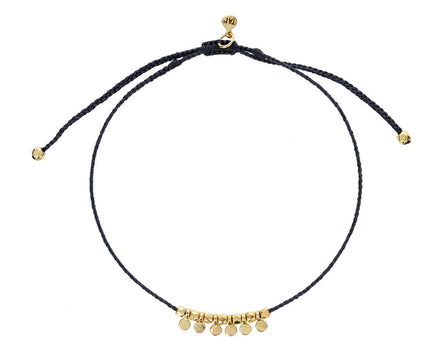 Dark Gray Nylon and Gold Disc Bracelet - TWISTonline