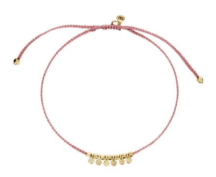 Pink Nylon and Gold Disc Bracelet - TWISTonline