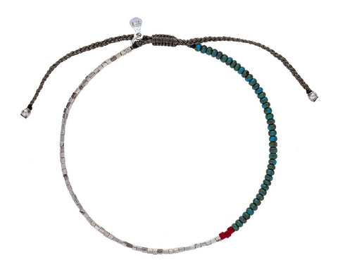 Turquoise and Silver Beaded Bracelet - TWISTonline