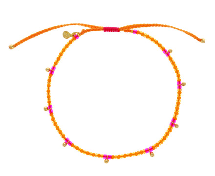 Pink and Orange Seed Bead Bracelet