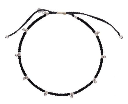 Black Seed Beads and Silver Charm Bracelet - TWISTonline