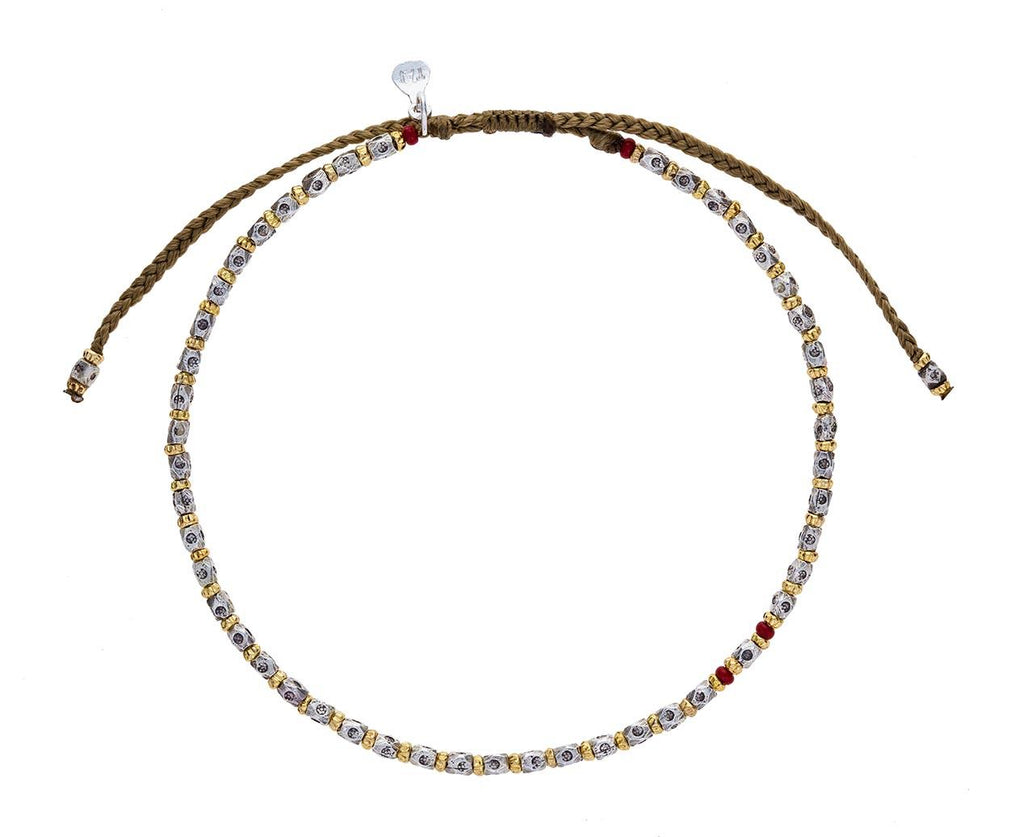 Silver, Gold and Red Bead Bracelet - TWISTonline