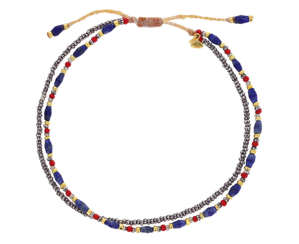 Lapis and Red Bead Bracelet