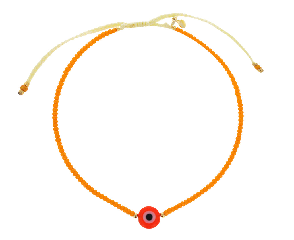 Orange Seed Bead and Evil Eye Bracelet
