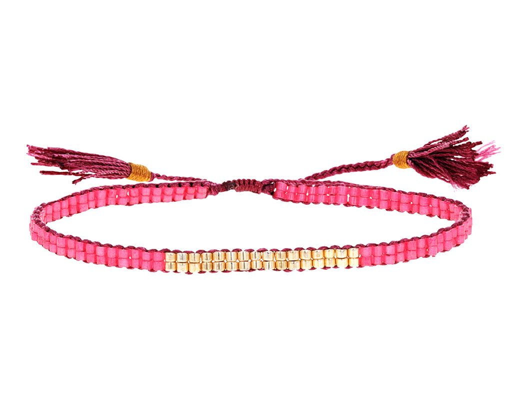 Pink Japanese Glass Double Bead Bracelet