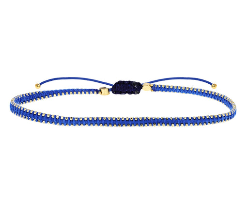Blue Nylon and Tiny Gold Plated Beaded Bracelet