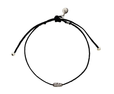 Black Nylon and Crystal Bead Bracelet - TWISTonline