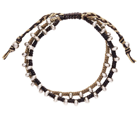 Two Tone Men's Woven Brass Bead Bracelet - TWISTonline