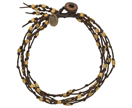 Brass Bead Six Strand Waxed Cord Bracelet - TWISTonline