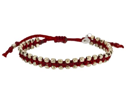 Silver Edged Red Cord Bracelet zoom 1