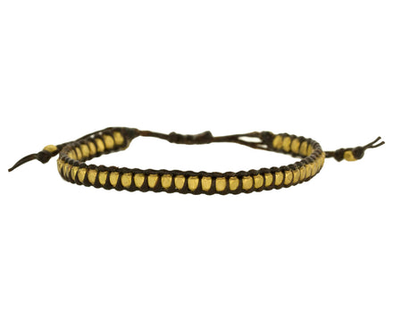 Black Cord and Brass Bead Bracelet - TWISTonline