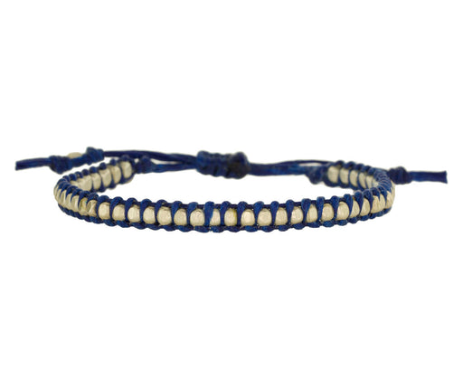 Silver Bead Bracelet on Navy Cord - TWISTonline