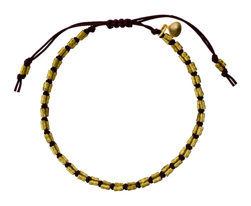 Brass Bead and Brown Wax Cord Bracelet - TWISTonline