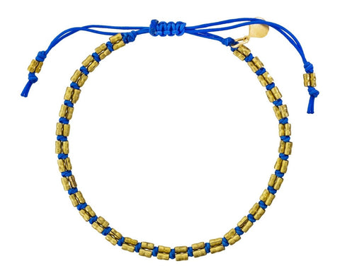 Brass Bead and Blue Cord Bracelet - TWISTonline