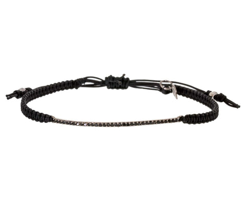 Jet CZ Bar Bracelet on Black Macrame - TWISTonline