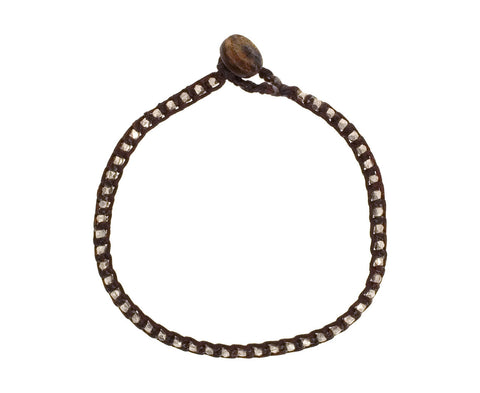 Silver Bead Bracelet on Brown Wax Cord - TWISTonline