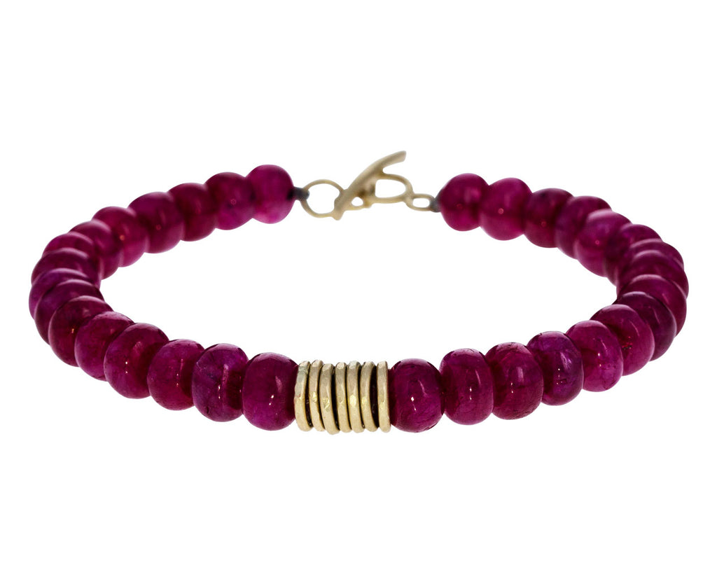 Ruby and Gold Ring Bead Bracelet