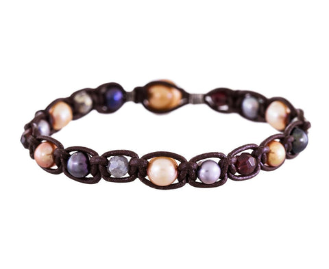 Pearl and Gem Leather Bracelet - TWISTonline