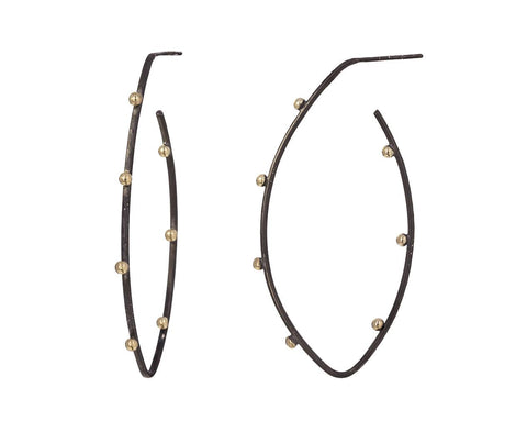 Rhodium Silver and Gold Ball Hoops - TWISTonline