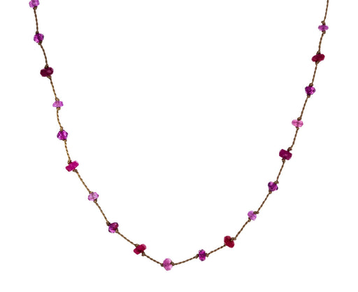 Pink Tourmaline, Garnet and Ruby Beaded Necklace