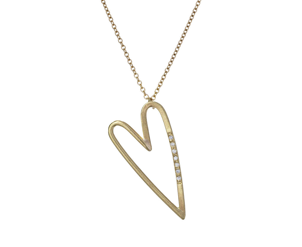 Elongated Heart Necklace with Diamonds