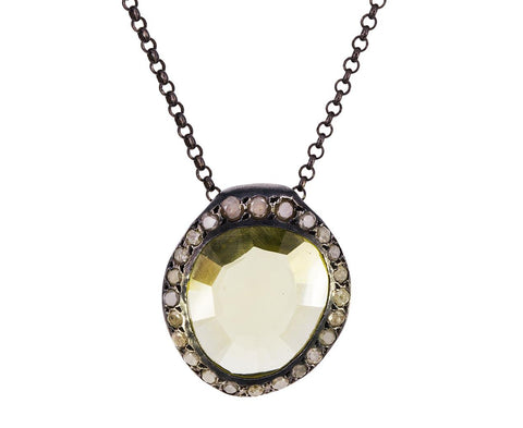 Large Lemon Quartz and Gray Diamond Pendant Necklace - TWISTonline
