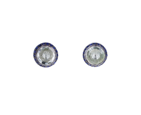 Prasiolite and Blue Sapphire Bo Belquis Stud Earrings