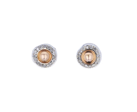 Pink Gold Diamond Bo Bershka Stud Earrings