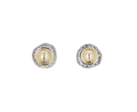 Yellow Gold Diamond Bo Bershka Stud Earrings