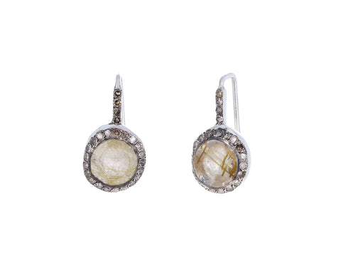 Rutilated Quartz Bo Beenu Diamond Earrings
