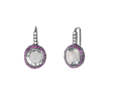 Prasiolite and Pink Sapphire Bo Beenu Dangle Earrings