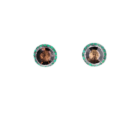 Smokey Quartz and Emerald Bo Belquis Earrings