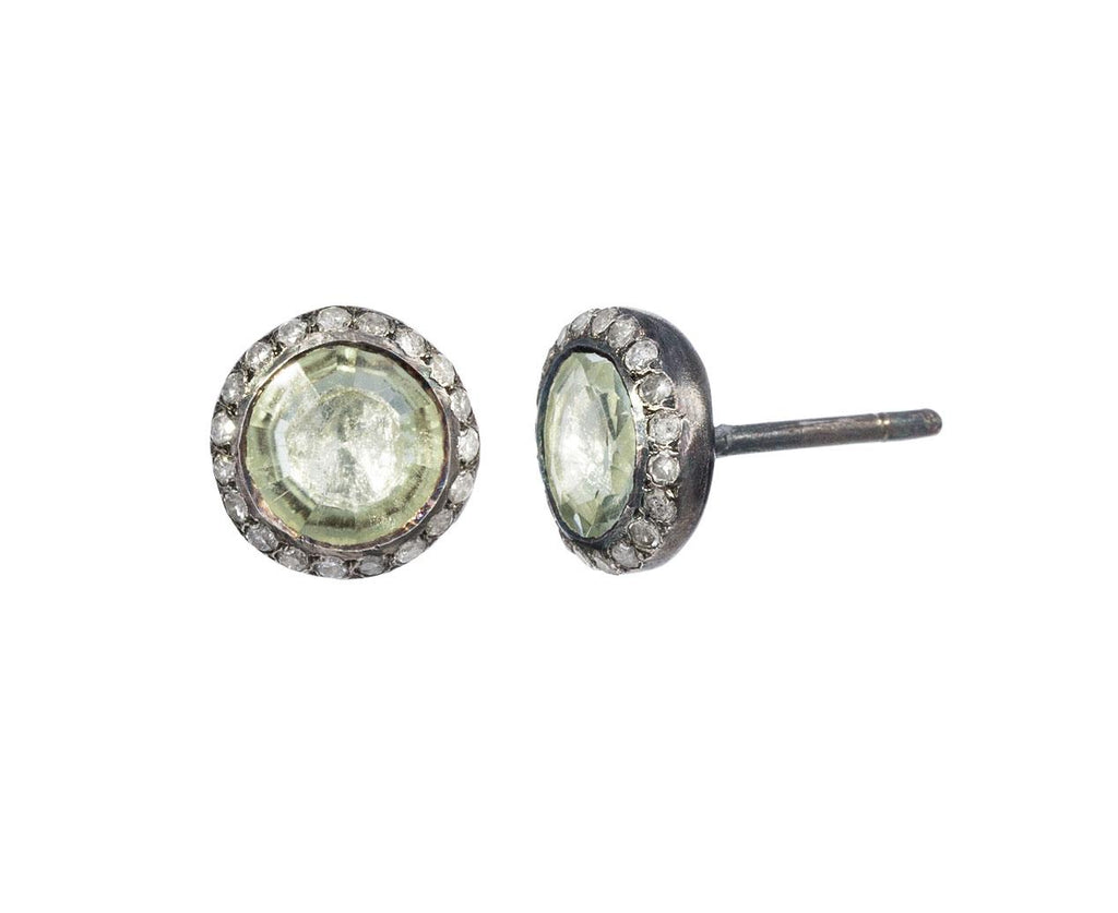 Prasolite and Rose Cut Diamond Earrings zoom 1_rosa_maria_prasiolite_diamond_stud_earrings