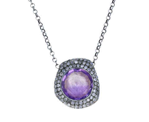 Large Ametrine and Icy Gray Diamond Necklace