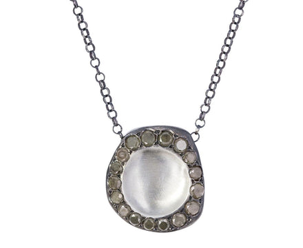 Concave Silver Necklace with Ice Yellow Diamonds - TWISTonline