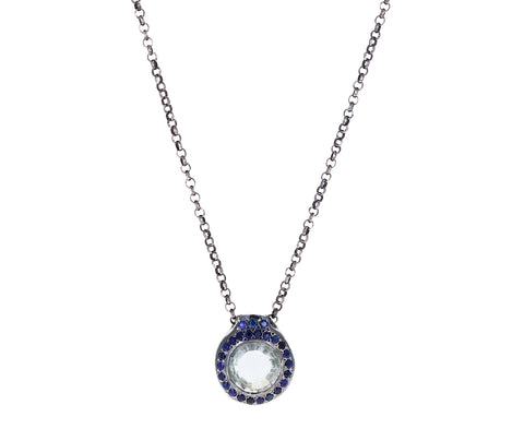 Blue Sapphire and Prasiolite Pendant Necklace