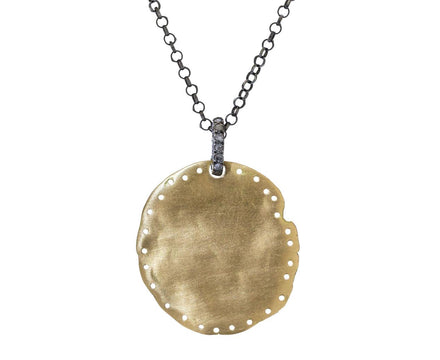 Gold Pendant Necklace with Gray Diamond Bale - TWISTonline