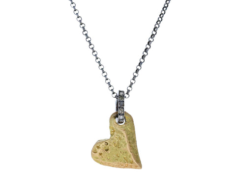Gold and Diamond Full Heart Necklace