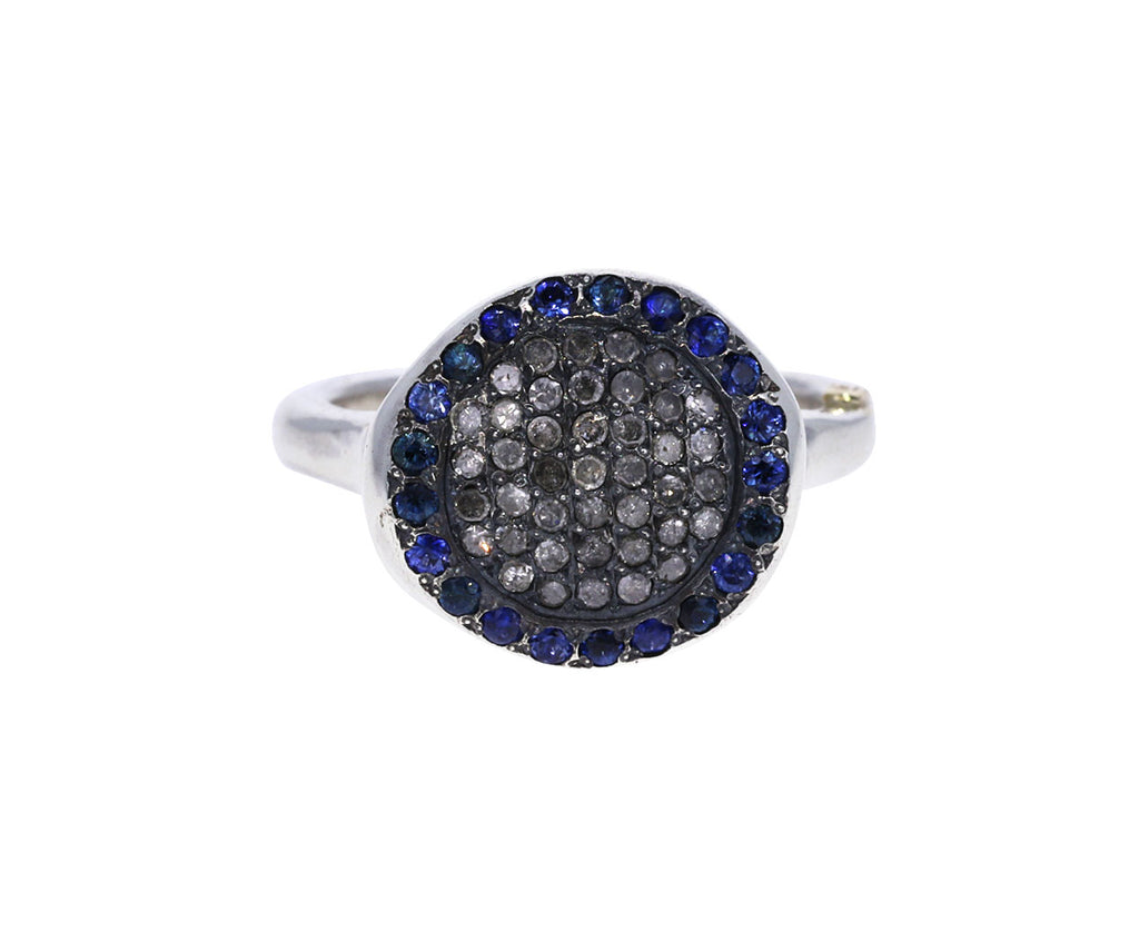 Icy Gray Diamond and Blue Sapphire Julia Ring