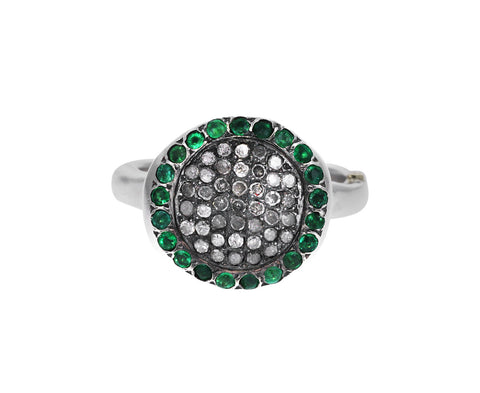 Icy Gray Diamond and Emerald Julia Ring