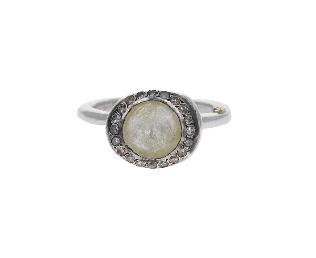 Rutilated Quartz Diamond Beenu Ring
