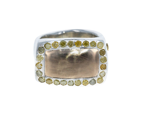 Yellow Diamond Gold and Silver Ring
