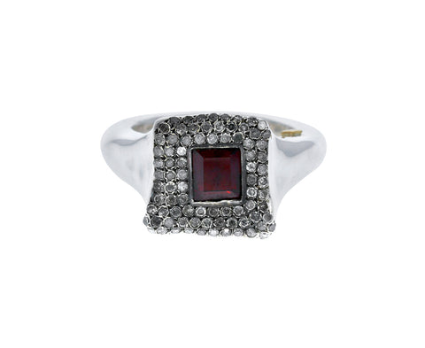 Garnet and Diamond Square Ring