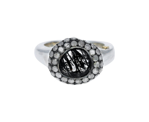 Black Rutilated Quartz and Diamond Carrie Ring