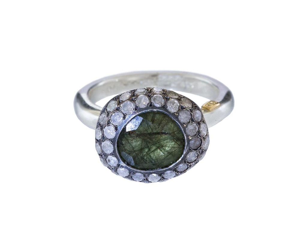 Green Quartz and Icy Gray Diamond Carrie Ring zoom 1_rosa_maria_green_rutilated_quartz_diamond_ring