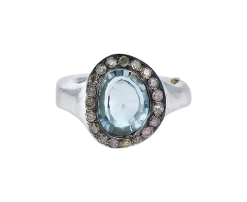 Diamond Halo Prasiolite Ring