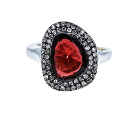 Garnet and Icy Gray Diamond Ring