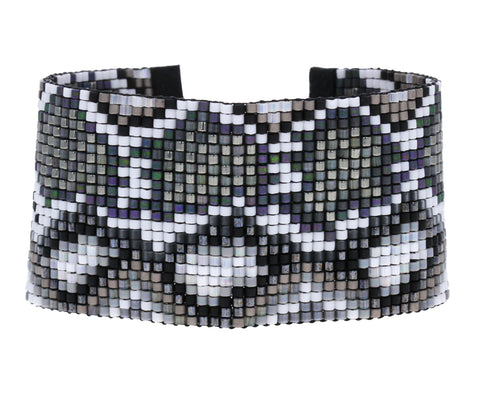 Black and White Snakeskin Beaded Bracelet